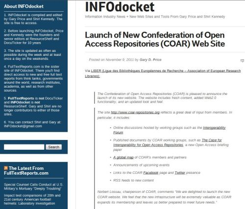 Launch of New Confederation of Open Access Repositories (COAR) Web Site (from INFODocket)
