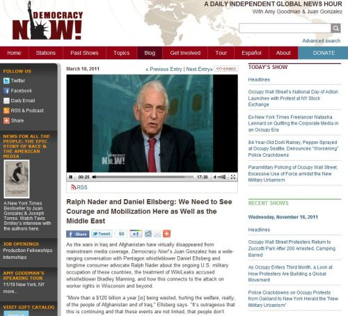 Ralph Nader and Daniel Ellsberg_ We Need to See Courage and Mobilization Here as Well as the Middle East (Democracy Now November 18 2011)