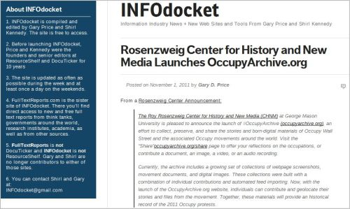 Rosenzweig Center for History and New Media Launches OccupyArchive.org