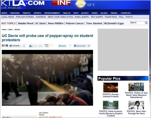 UC Davis will probe use of pepper-spray on student protesters (from KTLA TV)