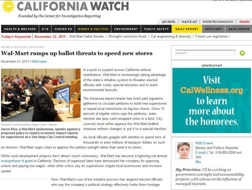 Wal-Mart ramps up ballot threats to speed new stores (from California Watch)