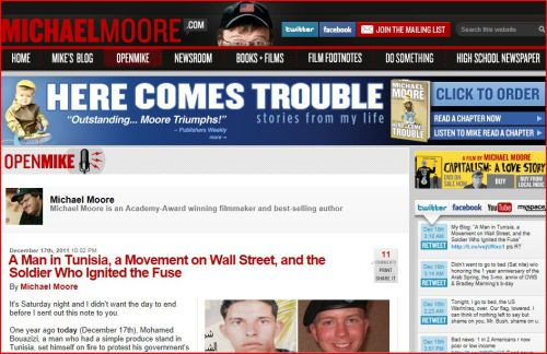 a Movement on Wall Street, and the Soldier Who Ignited the Fuse (from Michael Moore)