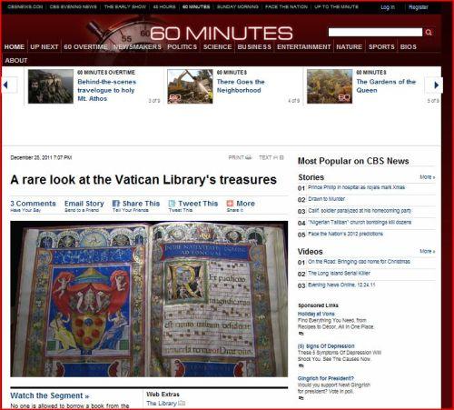 A rare look at the Vatican Library's treasures (CBS - 60 Minutes)