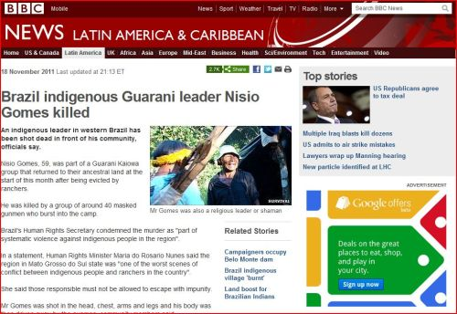 Brazil indigenous Guarani leader Nisio Gomes killed (from BBC)