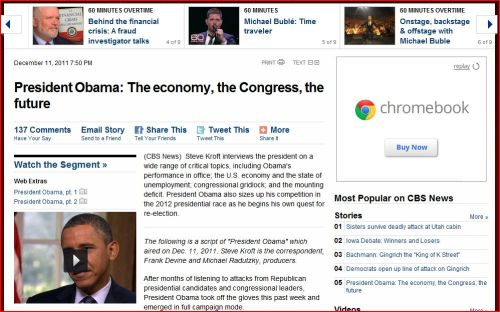 CBS - 60 Minutes _ President Obama: The economy, the Congress, the future
