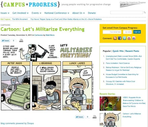 Cartoons - Cartoons 'Let's Militarize Everything' (From Center for American Progress)