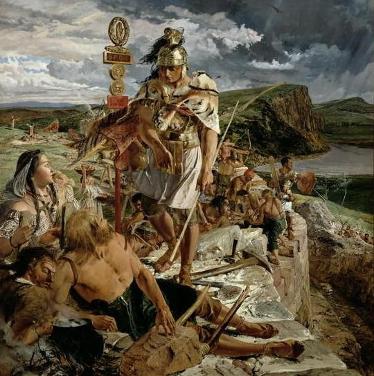 William Bell Scott: The Romans Cause a Wall to be Built for the Protection of the South