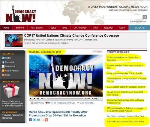 Demcracy Now Headlines for December 8 2011: Is striking a right of the past for the American worker?