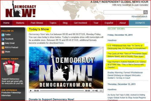 From Democracy Now December 19 2011