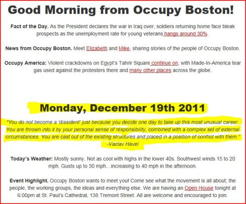 from occupy Boston comes this (Monday December 19 2011)