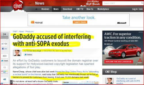 GoDaddy accused of interfering with anti-SOPA exodus