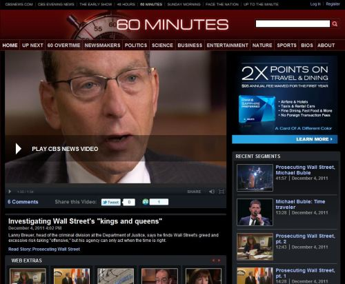 Investigating Wall Street's 'kings and queens'- CBS - 60 Minutes _ December 4 2011