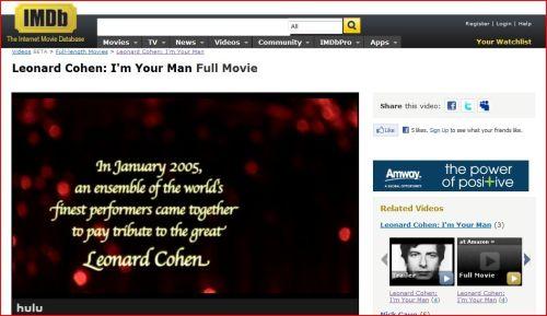 Leonard Cohen: I'm Your Man Full Movie
