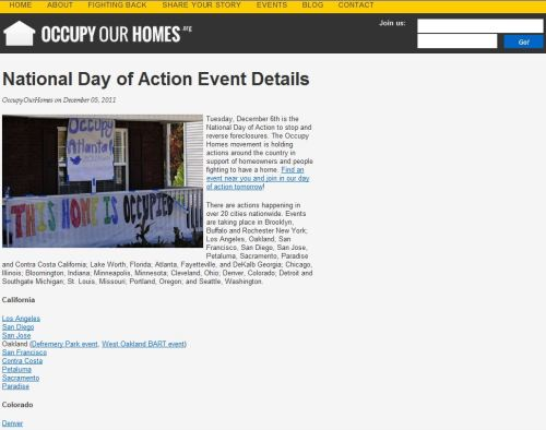 National Day of Action Event Details (Occupy Our Homes)