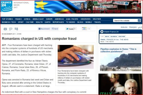 Romanians charged in US with computer fraud (from France 24 International)