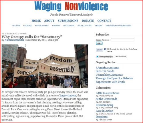 """Why Occupy calls for """"Sanctuary"""" From Waging Nonviolence December 17 2011"""