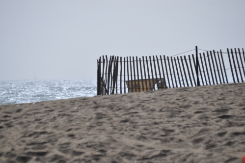 sands, oceans, beaches, wind, sand snow-fences and....one chaise-longue.