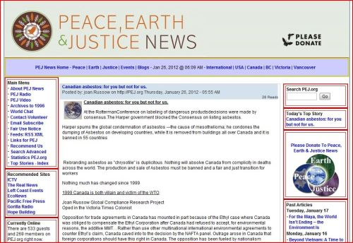 Canadian asbestos - for you but not for us (Peace, Earth and Justice News)