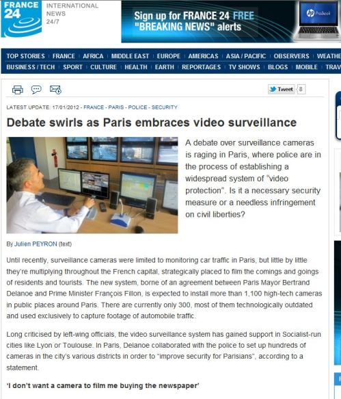 Debate swirls as Paris embraces video surveillance (from France 24 International News)