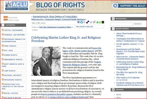 Celebrating Martin Luther King Jr. and Religious Freedom (from ACLU)
