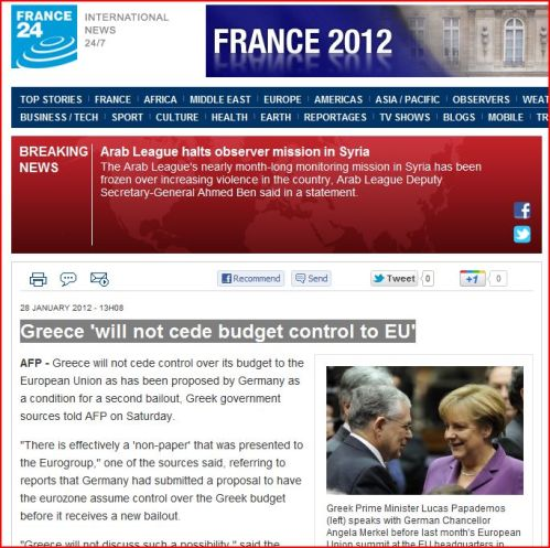 Greece 'will not cede budget control to EU' (from France 24 International News)