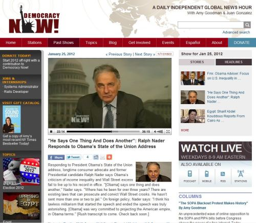 He Says One Thing And Does Another - Ralph Nader Responds to Obama's State of the Union Address