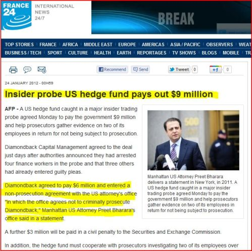 Insider probe US hedge fund pays out $9 million (from France 24 International News)