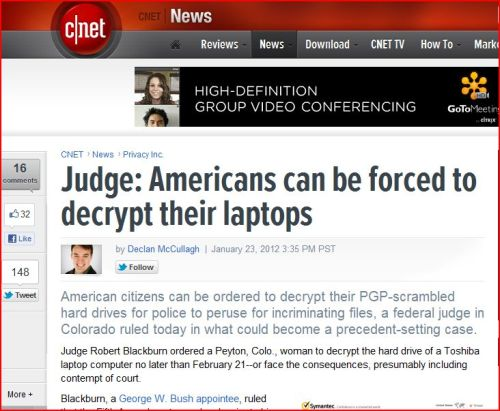 Judge:  Americans can be forced to decrypt their laptops