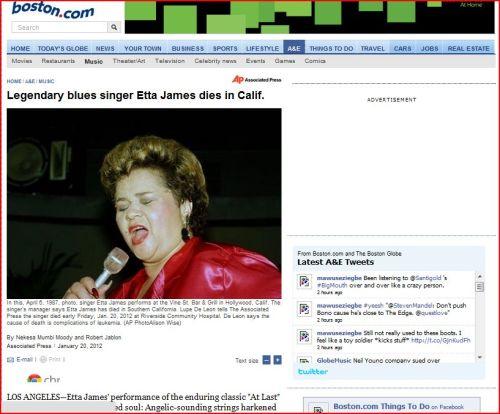 Legendary blues singer Etta James dies in California