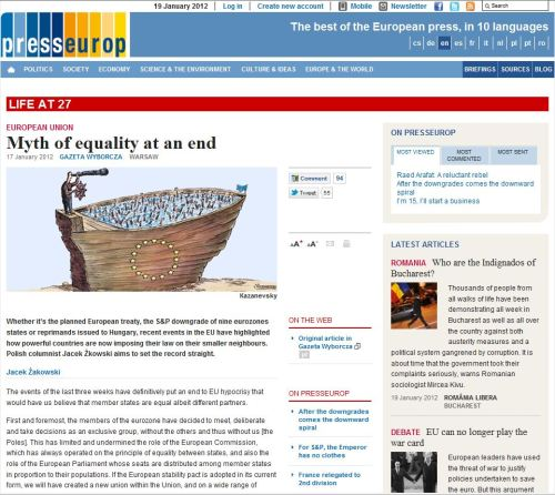 Life at 27_European Union_ Mith of Equality at an end (from presseurop)