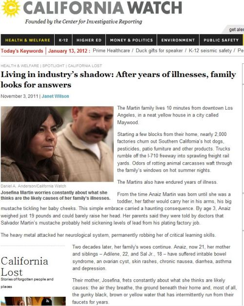 Living in industry's shadow - After years of illnesses, family looks for answers (from California Watch)