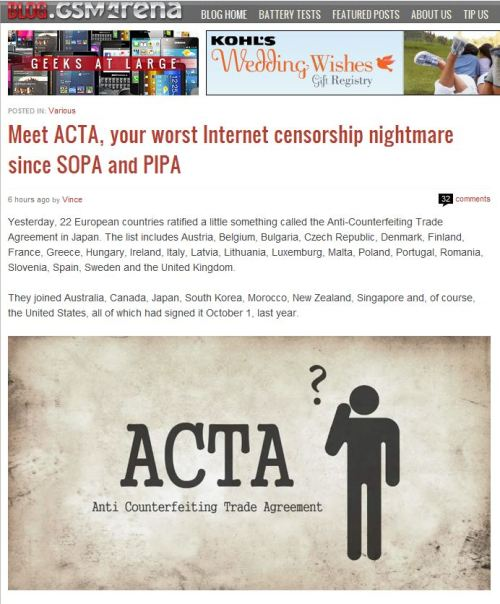 Meet ACTA, your worst Internet censorship nightmare since SOPA and PIPA (from Blog.GSMArena)