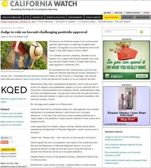 Methyl Iodide: Judge to rule on lawsuit challenging pesticide approval (from California Watch)