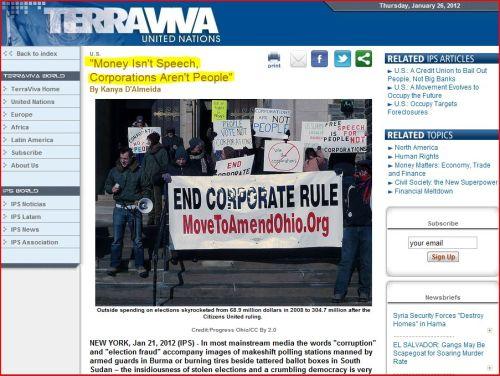 'Money Isn't Speech, Corporations Aren't People' (from TerraViva United Nations)