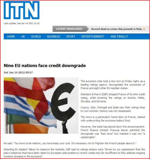 Nine EU nations face credit downgrade