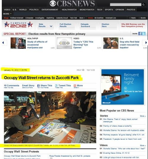 Occupy Wall Street returns to Zuccotti Park (from CBS NEws)