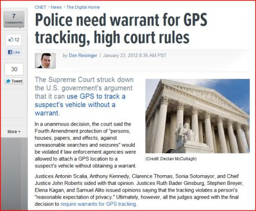 Police need warrant for GPS tracking, high court rules (From CNET-News)