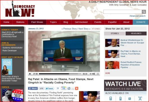 """Raj Patel _ In Attacks on Obama, Food Stamps, Newt Gingrich is """"Racially Coding Poverty"""""""