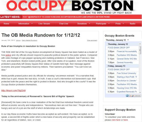 Rule of law triumphs in resolution to Occupy Boston - January 12 - 2012