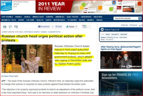 Russian church head urges political action after protests (from France 24 International News)