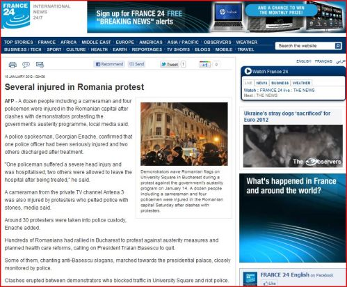 Several injured in Romania protest (from France 24 International News)