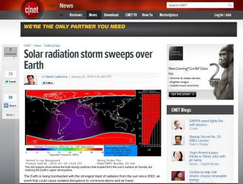 Solar radiation storm sweeps over Earth (from CNET NEWS)