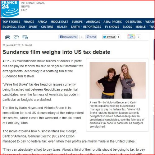 Sundance film weighs into US tax debate (from France 24 Intenational News)