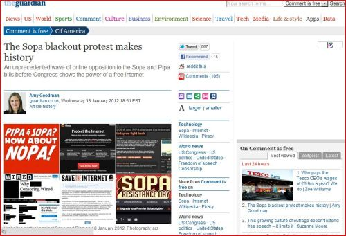 The SOPA blackout protest makes history by Amy Goodman at The Guardian
