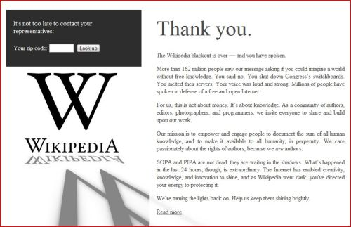 Thank You: The Wikipedia blackout is over — and you have spoken