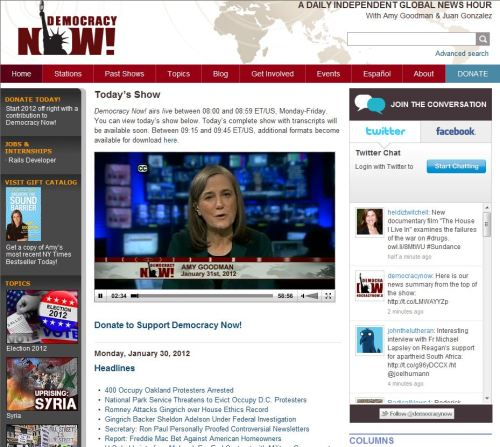 Today's Show (from Democracy Now January 31, 2012)