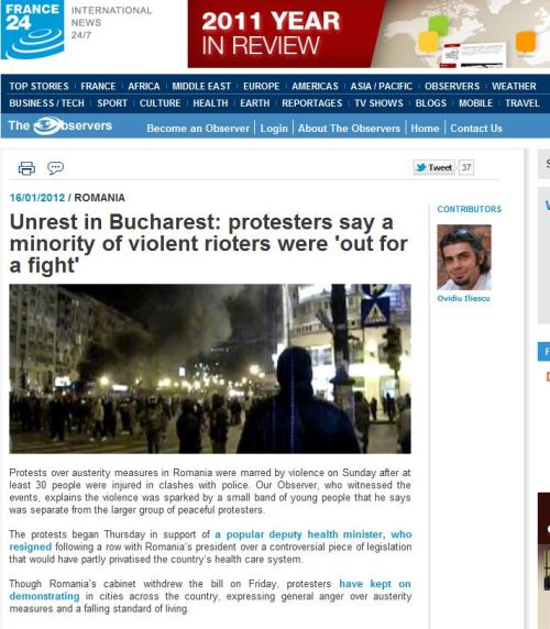 Unrest in Bucharest _ protesters say a minority of violent rioters were 'out for a fight' (from France 24 Internationa News)