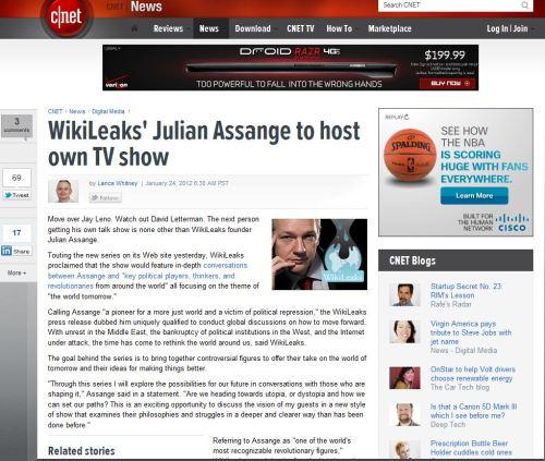 WikiLeaks' Julian Assange to host own TV show (from CNET NEWS)