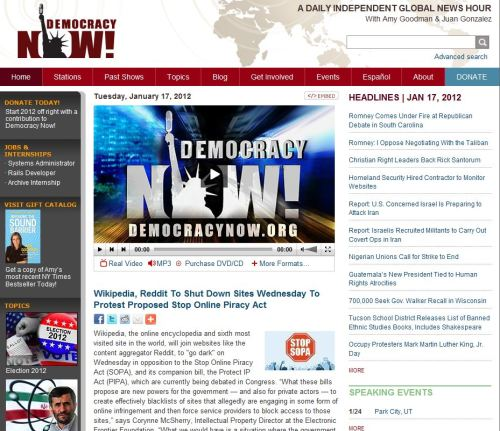 Wikipedia, Reddit To Shut Down Sites Wednesday To Protest Proposed Stop Online Piracy Act (from Democracy Now)