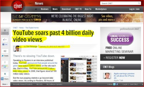 YouTube soars past 4 billion daily video views (from CNET News)